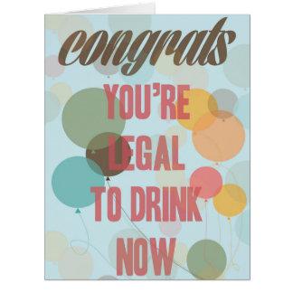 Glückwunsch, sind Sie legal, jetzt zu trinken Riesige Grußkarte