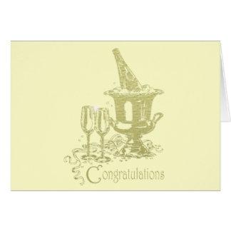 Glückwünsche, Champagne und Glas-Kunst Karte
