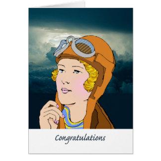 Glückwünsche, die Ihre Flügel, weiblichen Piloten Karte