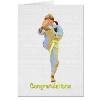 Glückwünsche, Karate, das gelbe Gurt-Karte tritt Karte