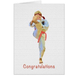 Glückwünsche, Karate, das orange Gurt-Karte tritt Karte