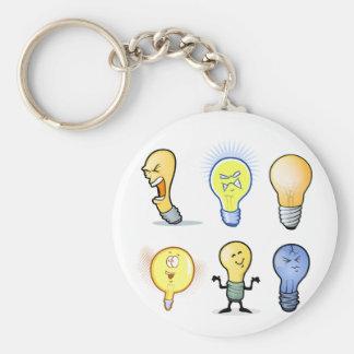 Glühlampen-Charaktere Keychain Standard Runder Schlüsselanhänger