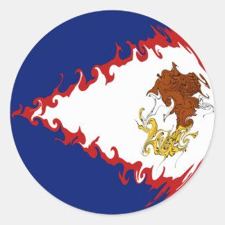 Gnarly Flagge American Samoa Runder Aufkleber