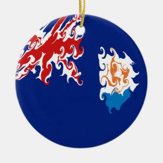 Gnarly Flagge Anguilla Rundes Keramik Ornament