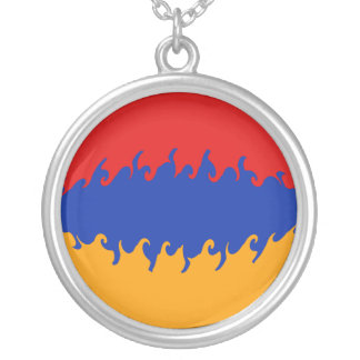 Gnarly Flagge Armeniens Halskette Mit Rundem Anhänger