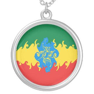 Gnarly Flagge Äthiopiens Halskette Mit Rundem Anhänger