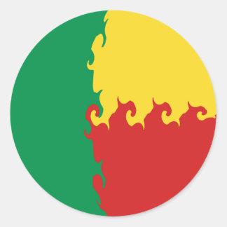 Gnarly Flagge Benins Runder Aufkleber