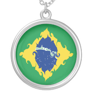 Gnarly Flagge Brasiliens Halskette Mit Rundem Anhänger