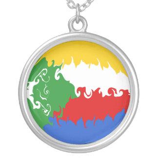 Gnarly Flagge Comoren Halskette Mit Rundem Anhänger