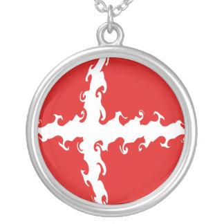 Gnarly Flagge Dänemarks Halskette Mit Rundem Anhänger