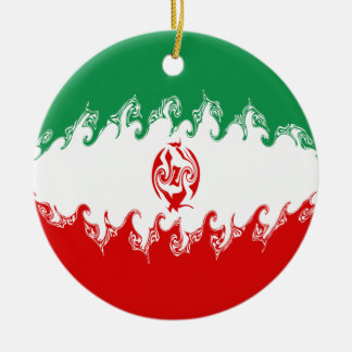 Gnarly Flagge des Irans Rundes Keramik Ornament
