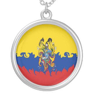 Gnarly Flagge Ecuadors Halskette Mit Rundem Anhänger