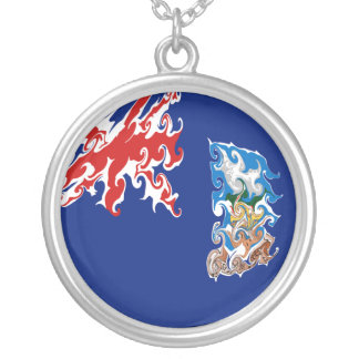 Gnarly Flagge Falklandinseln Halskette Mit Rundem Anhänger