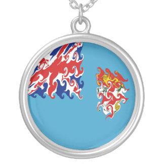 Gnarly Flagge Fidschis Halskette Mit Rundem Anhänger