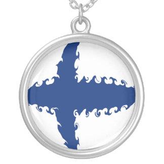 Gnarly Flagge Finnlands Halskette Mit Rundem Anhänger