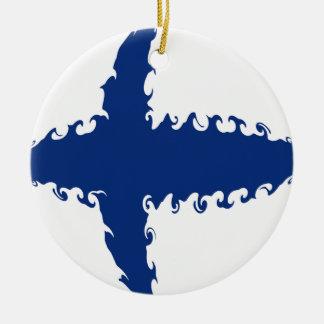 Gnarly Flagge Finnlands Rundes Keramik Ornament