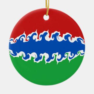 Gnarly Flagge Gambias Rundes Keramik Ornament