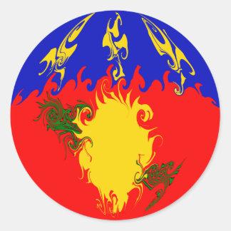 Gnarly Flagge Guadeloupes Runder Aufkleber