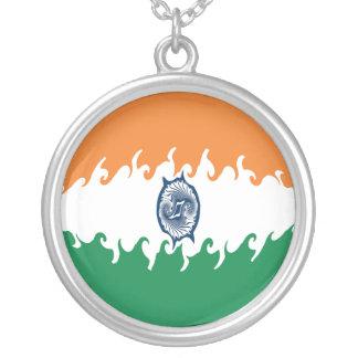 Gnarly Flagge Indiens Halskette Mit Rundem Anhänger