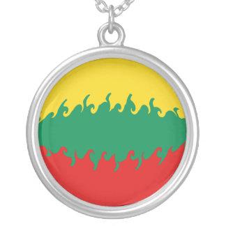 Gnarly Flagge Litauens Halskette Mit Rundem Anhänger