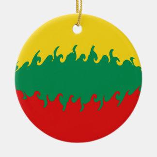 Gnarly Flagge Litauens Rundes Keramik Ornament