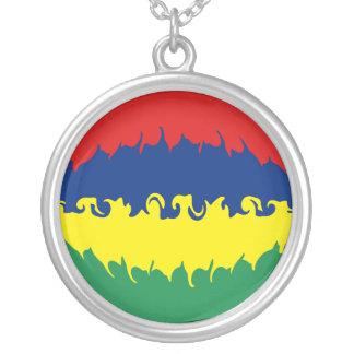 Gnarly Flagge Mauritius Halskette Mit Rundem Anhänger