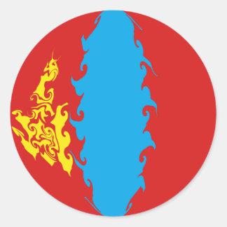 Gnarly Flagge Mongolei Runder Sticker