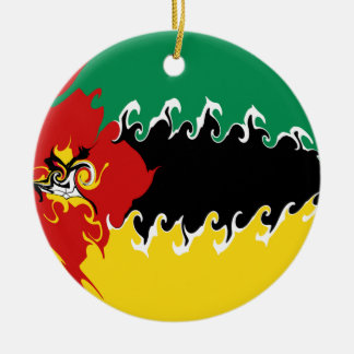 Gnarly Flagge Mosambiks Rundes Keramik Ornament