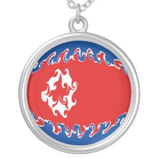 Gnarly Flagge Nordkoreas Halskette Mit Rundem Anhänger