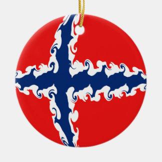 Gnarly Flagge Norwegens Rundes Keramik Ornament