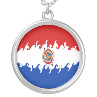 Gnarly Flagge Paraguays Halskette Mit Rundem Anhänger