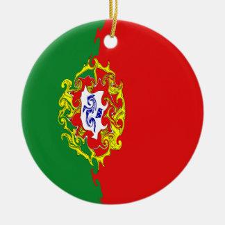 Gnarly Flagge Portugals Rundes Keramik Ornament