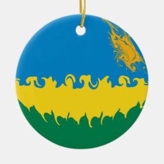 Gnarly Flagge Ruandas Rundes Keramik Ornament