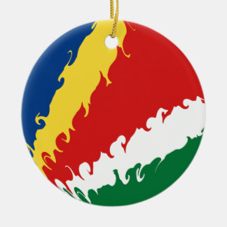 Gnarly Flagge Seychellen Rundes Keramik Ornament