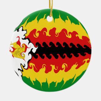 Gnarly Flagge Simbabwes Rundes Keramik Ornament