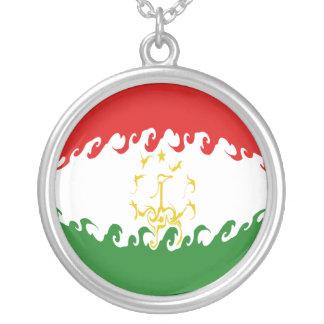 Gnarly Flagge Tadschikistans Halskette Mit Rundem Anhänger