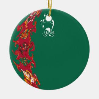 Gnarly Flagge Turkmenistans Rundes Keramik Ornament