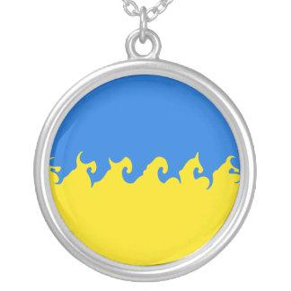 Gnarly Flagge Ukraine Halskette Mit Rundem Anhänger