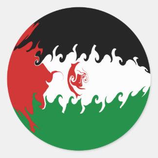 Gnarly Flagge Westsaharas Runder Aufkleber
