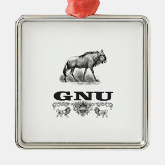 Gnu-Power Silbernes Ornament