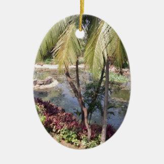 Goa Indien Garten Ovales Keramik Ornament