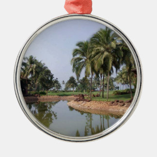 Goa Indien Rundes Silberfarbenes Ornament