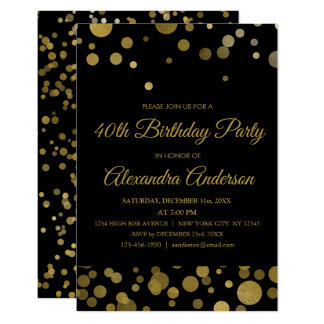 Gold40. Geburtstags-Party-GoldConfetti Karte