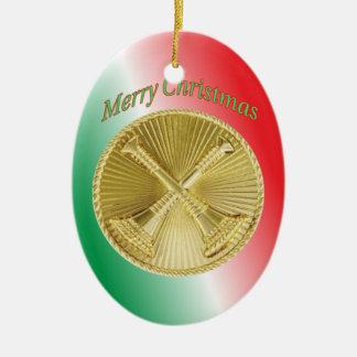 Gold Bugle Feuerwehrmann-Kapitäns Ovales Keramik Ornament