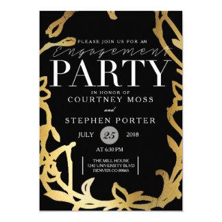 Gold des Chic-Verlobungs-Party-  mit Blumen 12,7 X 17,8 Cm Einladungskarte
