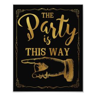 Gold dieses Weisen-Party-Hochzeitszeichen verließ Fotodruck
