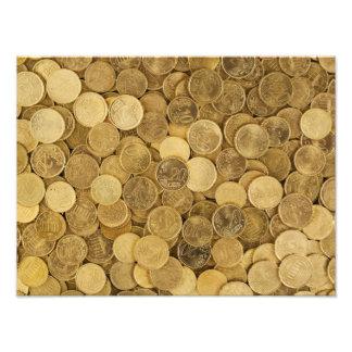 Gold farbige Euromünzen Fotodruck