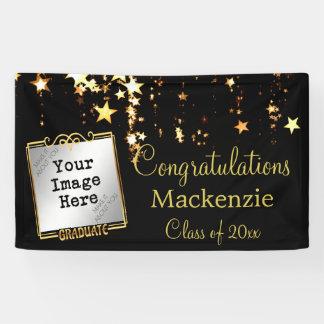 Gold hat Abschluss-Zeichen mit Foto in der Banner