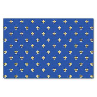 Gold Heraldyc Lilly auf blauem Hintergrund Seidenpapier