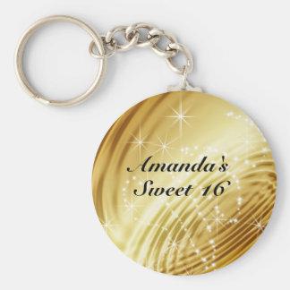 Gold, Imitat Satin, Schein, 16. Geburtstag Standard Runder Schlüsselanhänger